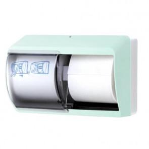 Distributore di carta igienica doppio rotolo QTS in ABS con capacit? massima ? 13 cm verde opalino - E-TO/OD-S