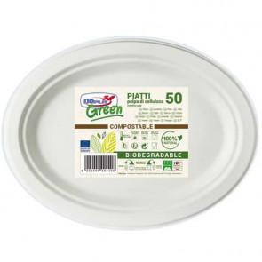 Stoviglie monouso biodegradabili Dopla Green piatti ovali polpa di cellulosa bianco conf.50 - 7705
