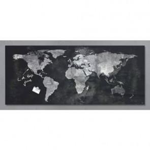 Lavagna magnetica in vetro Artverum SIGEL 1300x550x15 mm Worldmap RGL246