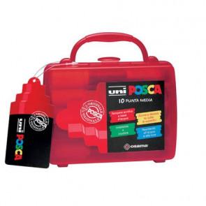 Marcatori a tempera Uni Ball Uni Posca punta tonda 1,8-2,5 mm assortiti valigetta da 10 pz. - M PC5M 10C