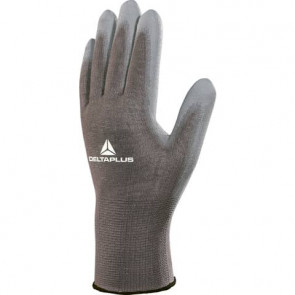 Guanto da lavoro Delta Plus in maglia di poliammide con palmo in poliuretano grigio taglia 9 - VE702GR09