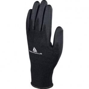 Guanto da lavoro Delta Plus in maglia di poliestere con palmo in poliuretano nero taglia 9 conf. da 12 pezzi - VE702PN09