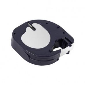 Nastro per etichettatrice Q-Connect compatibile con Dymo LetraTag - carta - nero/bianco - 12 mm x 4 m - KF18836