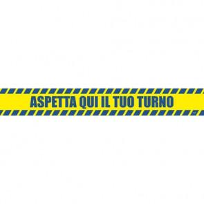 """Adesivo segnaletico calpestabile Markin """"Aspetta qui il tuo turno"""" in PVC 98x8,5 cm - Conf. 2 pezzi - X290COV-10"""