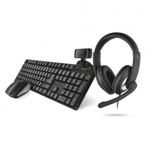 Set 4-in-1 Home Office Trust QOBY nero tastiera wireless + mouse wireless + webcam HD + cuffie over-ear - 24041