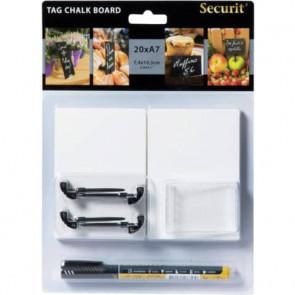 Set lavagne scrivibili tag + pennarello+ 4 supporti con punta + 2 supporti trasparenti Securit? - TAG-A7-WT