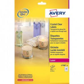 Etichette lucide invisibili Avery 24 ø 40 mm 190 g/mq L7780-25 (conf.25)