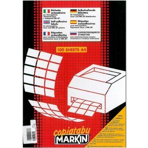 Etichetta adesiva A/410 bianca 100fg A4 63,5X38,1mm (21eti/fg) Markin