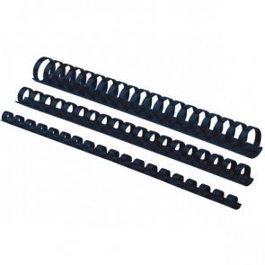 Dorsi plastici a 21 anelli Fellowes 8 mm 40 fogli nero 5345707 (conf.100)