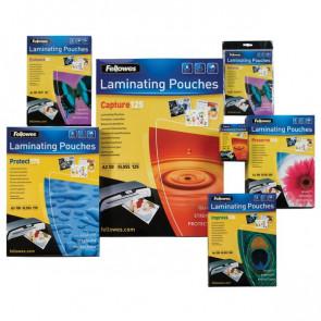 Pouches per plastificatrici Fellowes 75 micron per lato A4 lucida 5396205 (conf.25)