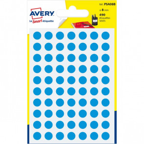 Etichette rotonde in bustina Avery blu diam. 8 mm 70 PSA08B (conf.6)