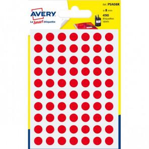 Etichette rotonde in bustina Avery rosso diam. 8 mm 70 PSA08R (conf.6)
