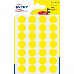 Etichette rotonde in bustina Avery giallo diam. 15 mm 24 PSA15J (conf.7)