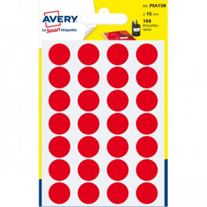 Etichette rotonde in bustina Avery rosso diam. 15 mm 24 PSA15R (conf.7)