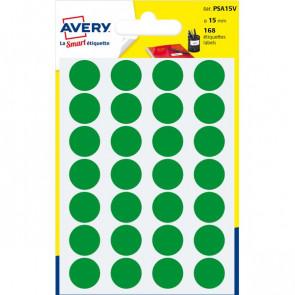 Etichette rotonde in bustina Avery verde diam. 15 mm 24 PSA15V (conf.7)