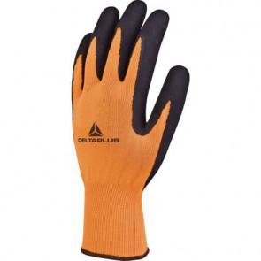 Guanto da lavoro Delta Plus in maglia poliestere - spalmatura lattice schiuma arancio-nero taglia 8 - VV733OR08