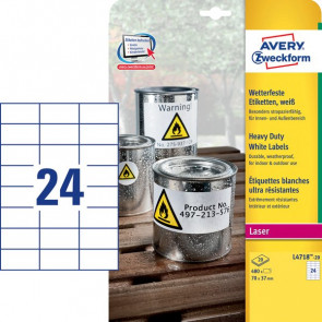 Etichette in poliestere Avery laser bianco 70x37 mm et/ff 24 L4718-20 (conf.20)