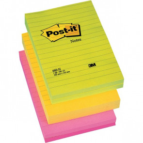 Post-it® Large Note 102x152 mm 2 giallo neon, 2 rosa neon, 2 verde neon righe 660-NR (conf.6)