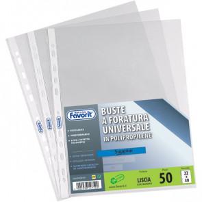 Buste a foratura universale Liscio Super Clear Favorit -Linear 22x30cm bianco 01018201 (conf.50)