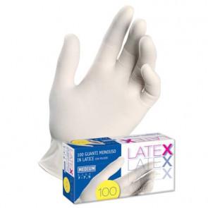 Guanti in lattice con polvere Icoguanti Latex S bianchi scatola da 100 guanti - ESL/SMALL