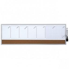 Planning magnetico settimanale Quartet 19x58,5 cm bianco/sughero 1903780