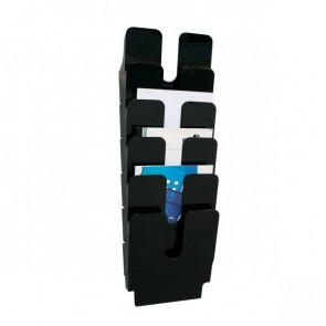 Portadepliant da parete Flexiplus Durable Da parete 6 scomparti A4 24,7x10x74,5 cm nero 1700008061