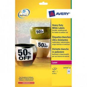 Etichette in poliestere Avery laser bianco Ø 30 mm 40 L4716-20 (conf.20)