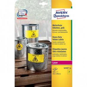conf. 20 Etichette gialle poliestere 20ff Avery L6105-20