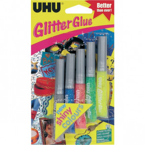 Glitter Glue UHU Shiny assortiti 10 ml D1552/D1551 (conf.6)