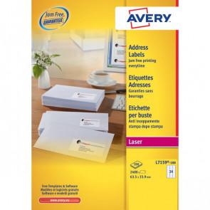 Etichette bianche QuickPeel™ x indirizzi,ecologiche,FSC Avery 63,5x33,9 mm L7159-100 (conf.100)