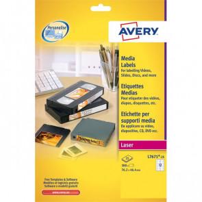 Etichette per supporti multimediali Avery 72x21,1 mm 24 et/ff L7665-25 (conf.25)