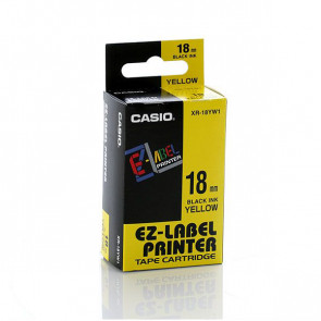 NASTRO CASIO 18MM X 8MT NERO SU GIALLO