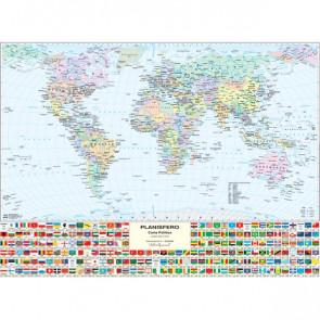 Carta geografica murale fisica e politica MONDO Belletti 132x99 cm MS02PL