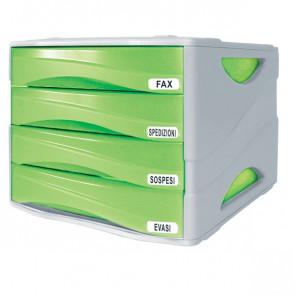 Cassettiera Smile Arda verde traslucido 4 cassetti TR15P4PV