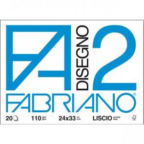 Fabriano disegno 2 Liscio 24x33 cm a 4 angoli 110 g/mq 20 fogli 06200516