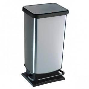 Pattumiera rettangolare Rotho 35x30x68 cm 40 litri silver F600060