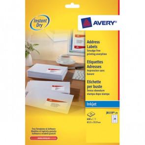 Etichette bianche QuickDry per indirizzi Avery 63,5x33,9 mm J8159-25 (conf.25)