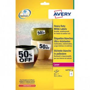 Etichette poliestere bianco e argento Laser Avery bianco 99,1x139 mm 4 L4774-20 (conf.20)