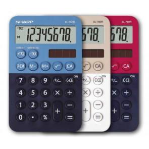 SHARP Calcolatrice tascabile EL 760R, 8 cifre, 2 colori design, rosso - blu