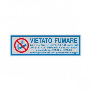 Cartelli segnaletici adesivi Cartelli Segnalatori - 165x50 mm - vietato fumare con legge - 96701 (conf.10)