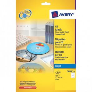 Etichette Full-Face CD Avery per stampanti Inkjet bianco pat. opaco 2 et/ff J8676-25 (conf.25)