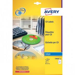 Etichette Full-Face CD Avery per stampanti Inkjet bianco pat.lucido 2 et/ff C9660-25 (conf.25)