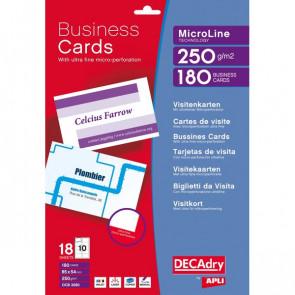 Biglietti visita Decadry -laser/inkjet-microperf.-angoli vivi-fronte/retro- 250g-OCB3260 (conf.180)