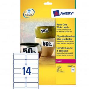 Etichette permanenti in poliestere Avery 99,1x38,1 mm bianco Laser 14 et./foglio Conf. 20 fogli - L7063-20