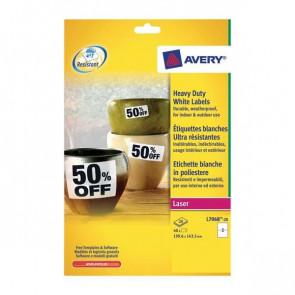 Etichette permanenti in poliestere Avery 199,6x67,7 mm bianco Laser 2 et./foglio Conf. 20 fogli - L7068-20