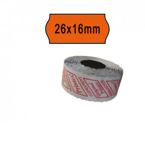 PACK 10 ROTOLI 1000 ETICH. 26x16mm ONDA ARANCIO PERM. Printex
