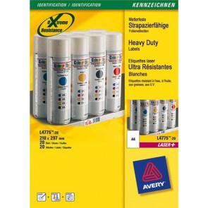 Etichette poliestere bianco e argento Laser Avery bianco 210x297 mm 1 L4775-20 (conf.20)
