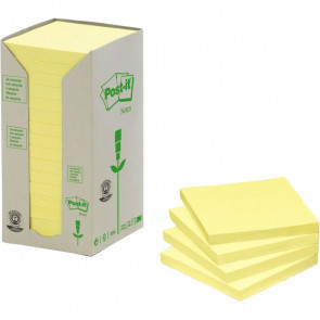 Post-it® Note in carta riciclata giallo 76x76 mm 654-1T (conf.16)