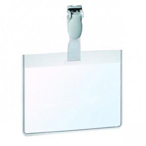 Portabadge in PVC con clip in plastica Durable 6x9 cm sigillabile con clip 8143-19 (conf.25)