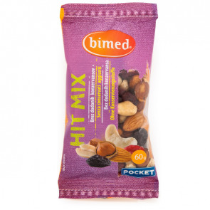 Hit mix nocciole, anacardi, mandorle, mirtilli e uvetta, pocket 60g - Bimed
